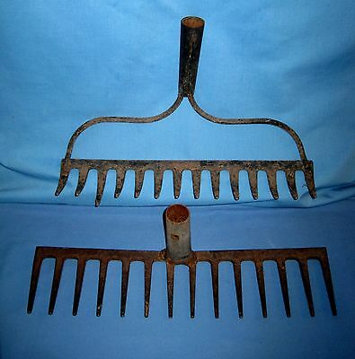 Lot 2 VTG/Antique Old Shabby 14 Tine Prong Farm Garden Rake Heads Tool!