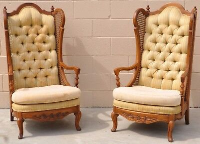 Vintage Pair Of High Back French Provincial Accent Occasional Chairs Rattan Wood