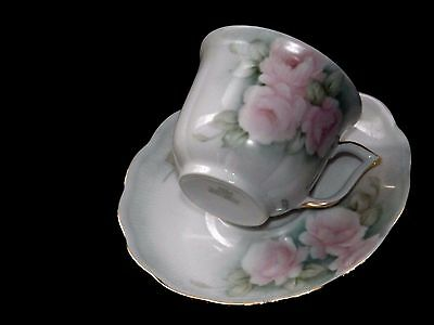 Pink Peony Tea Cup & Saucer Set Vohenstrauss Germany ~ Signed Kathleen Clark