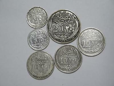 Egypt 20 10 5 Piastres 1917 1916 Silver Type Low Grade World Coin Collection Lot