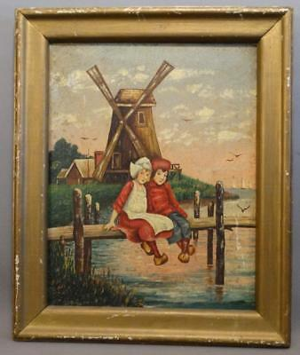 Ca. 1910 Antique BOY-GIRL Old FISHING PIER Dock DUCTH WINDMILL Oil PAINTING