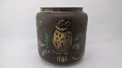 Rare Antique - Taylor Tunnicliffe A.F.C. Hand Painted OWL Jar / Tobacco Humidor