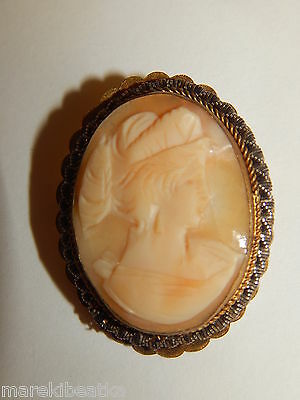 ANTIQUE  VICTORIAN  LIGHT SHELL CARVED CAMEO BROOCH, PENDANT SIGNED RAB Co