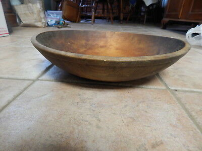 Antique Primitive Out Of Round Hand Turned Wooden  Dough Bowl #3