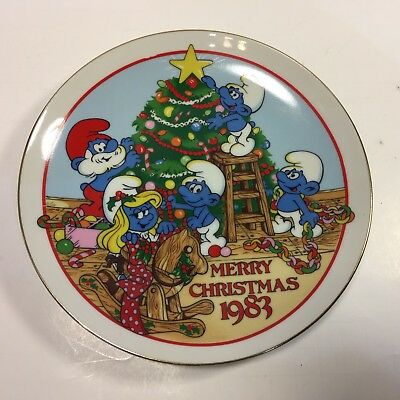 1983 Vintage The Smurf Carolers Christmas Collectible Plate