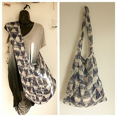 TWO (2) FREE PEOPLE Small Large Gauzy Linen Tote Yoga Beach Boho REUSABLE BAG