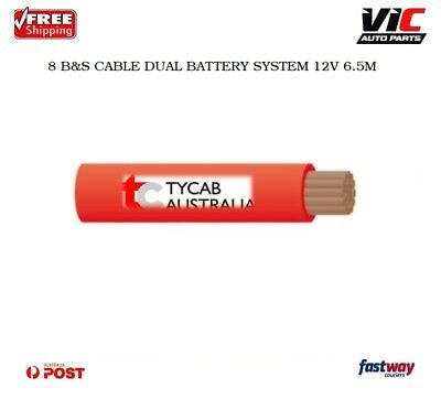 TYCAB 8 B&S CABLE DUAL BATTERY SYSTEM 12V x 6M RED COLOUR 8BS BS
