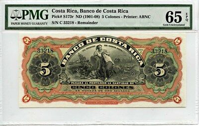 Costa Rica: ND (1901-08) 5 Colones PMG 65 EPQ (P-S173r) -