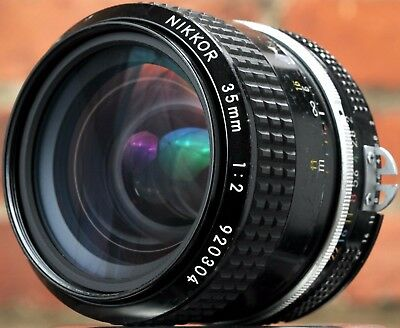Nikon Nikkor 35mm F/2 AI Wide Angle Prime Lens - Made In Japan - Very Nice!