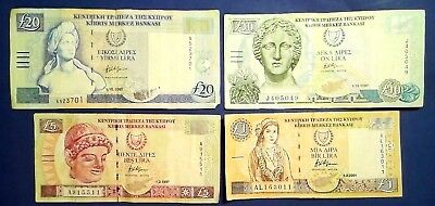 CYPRUS: Set of 4 Pound Banknotes - Fine Condition
