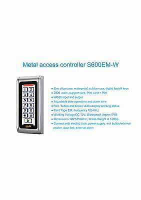 coded keypad door RFID Keypad 12v, PTE Alarm, 2000 codes, Metal Vandal Proof