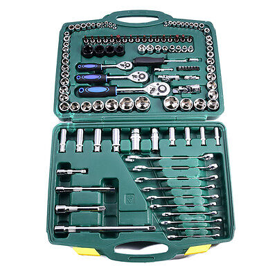 46pcs Auto Repair Combination Package Socket Set Drive Ratchet Wrench Tool HQ