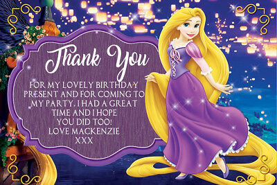 Personalised Tangled Rapunzel Princess Birthday Stickers Party Thank You 081