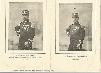 Militaria document sapeur-pompier Oise 1901 Capitaine puis Commandant Cazier