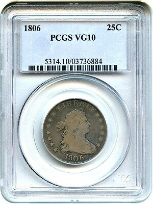 1806 25c PCGS VG-10 - Great Early Type Coin - Bust Quarter
