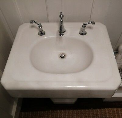 Vintage Pedestal Sink White Porcelain over Cast Iron Mfg 1938