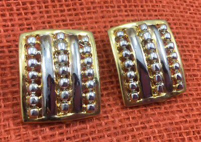 Vintage Style Earrings gold & Silver Plated Dotted cast metal Square Clip On