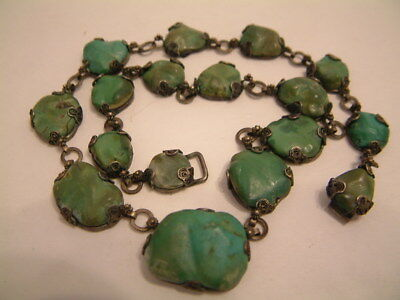 Vintage CHINESE TURQUOISE GILDED Silver Necklace TRUE ANTIQUE SIGNED by Maker