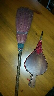 Antique Fireplace Bellows & Broom