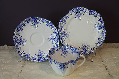 "Shelley Bone China England Dainty Blue Tea Cup Saucer & 6"" Plate Trio"