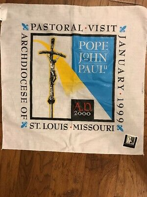 Pope John Paul II Pastoral Visit 1999 St. Louis White Scarf-Bandana-NEW with tag