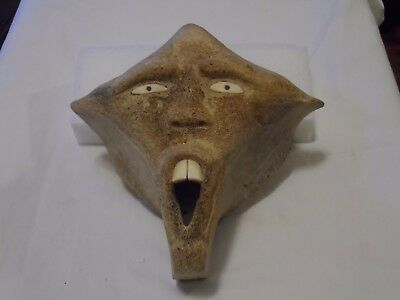 ANTIQUE EARLY 1900s RARE INUIT ESKIMO FOSSILIZED WHALEBONE MASK CARVING