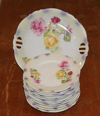 ANTIQUE PK SILESIA 11 pc PORCELAIN LUSTER PLATES VICTORIAN PINK & YELLOW ROSES