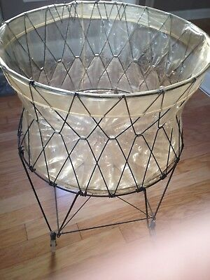 ANTIQUE Vintage metal wire laundry basket collapsible rustic primitive ON WHEELS