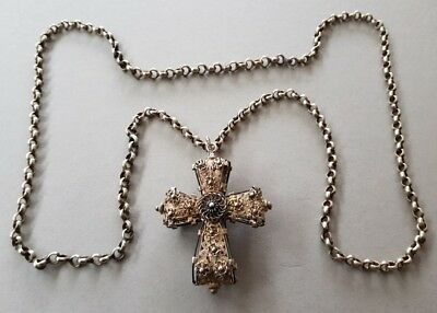 GORGEOUS ANTIQUE SILVER filigree Cross BALKAN Ottoman with hand-knit chain