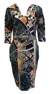 Womens Ladies New FULL Oriental Multi Floral Midi Bodycon Stretch Dress UK 8-12