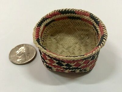 Choctaw Indian Miniature Double Weave River Cane Basket (4)