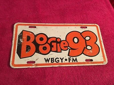 RARE Vintage FM Boogie 93 WBGY Disco Rock Tennessee Radio Station License Plate