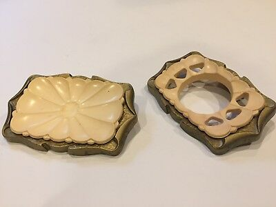 Vtg Amerock Carriage House brass wall mount soap AND toothbrush holder 9052-2