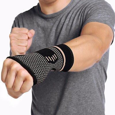 Copper Elastic Wrist Support Hand Palm Brace Compression Glove Sleeves Arthritis