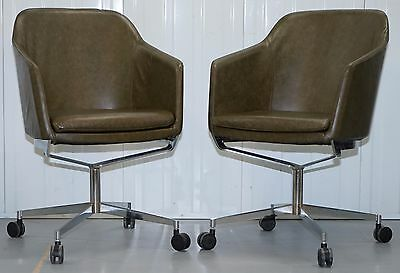 1 Of 2 Retro Aged Green Rrp£1299 Heritage Leather Office Captains Chairs Chrome