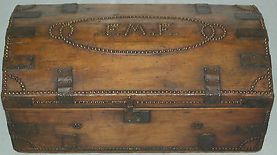 Original Antique Steamer Trunk Leather And Wood Hand Studded F.m.f Rare Find