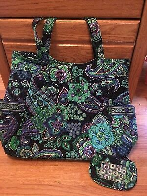 Vera Bradley large Shoulder Tote Blue Rhapsody Gently Used + ID/coin case