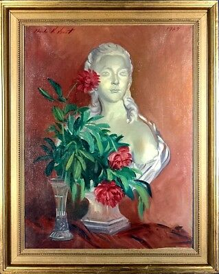 Stunning ca.1969 Marie Antoinette Bust w/Roses Painting Oil/Canvas/Frame Listed