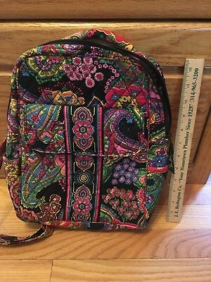 Vera Bradley small backpack purse Symphony in Hue (black/pink/red+) Gently Used