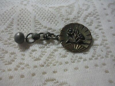 Beautiful Antique Victorian Brass Picture Button of Flowers & Chain Cut Steel