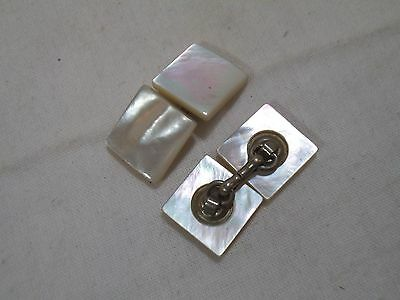 """Vintage Art Deco SQUARE Mother Of Pearl Double Sided/Ended Cufflinks - 1/2"""""""