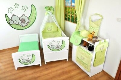 NEW WHITE 2 in1 COT-BED 120 x 60 WITH A 3-PIECE BEDDING no 9 n