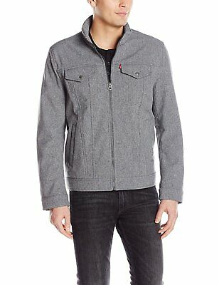 NEW -- Levis Mens Two Pocket Soft Shell Military Jacket, Heather Grey -- Large