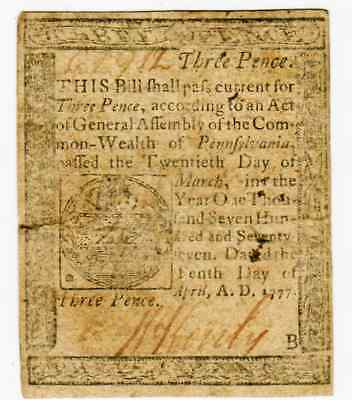 "April 10Th 1777 - 3 Pence Colonial Pennsylvania ""to Counterfeit Is Death"" - Vf"