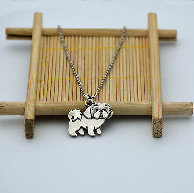 Small Shih Tzu Dog Canine Collection Silver Tone Fashion Pendant Necklace