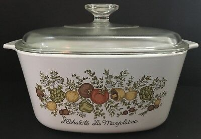 Vintage CORNING WARE Spice of Life A-3-B 3 Quart Casserole Oven Dish with Lid