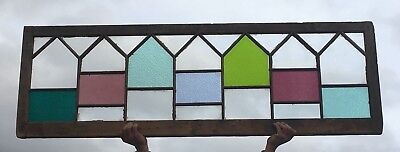 Large Antique 21x66 Stained Glass Window Victorian Old Cottage Vtg Chic 11-18E