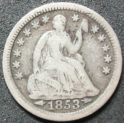 1853 Arrows Seated Liberty Half Dime Coin