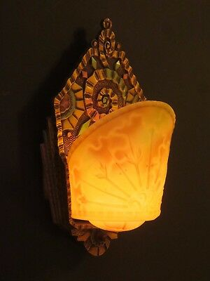 Williamson Art Deco Wall Sconce Very Rare Slip Shade Signed