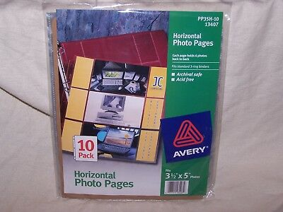 Avery Horizontal Photo Pages  Pack of 10 Sheets Binder 3.5 x 5 PP35H-10 13407